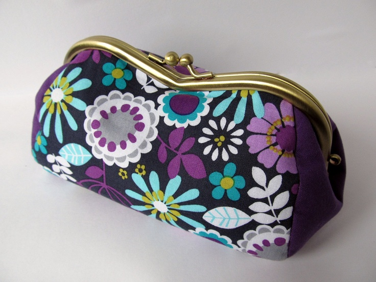 metal frame purse - flowers on purple and dots on lilac