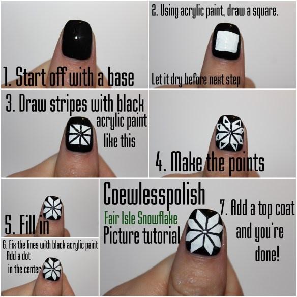 Fair Isle Snowflake picture tutorial + video tutorial! | Coewless nail polish blog