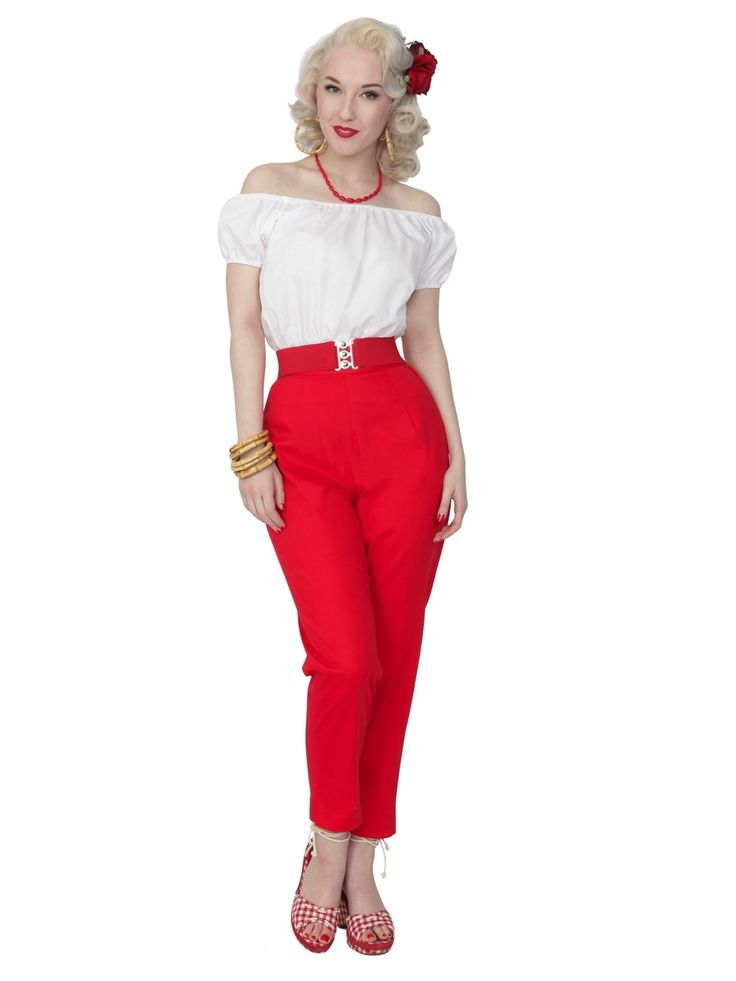 50s-1950s-Vivien-of-Holloway-Best-Vintage-Reproduction-Repro-Pedal-Pushers-Red-Swing-Pinup-Rockabilly