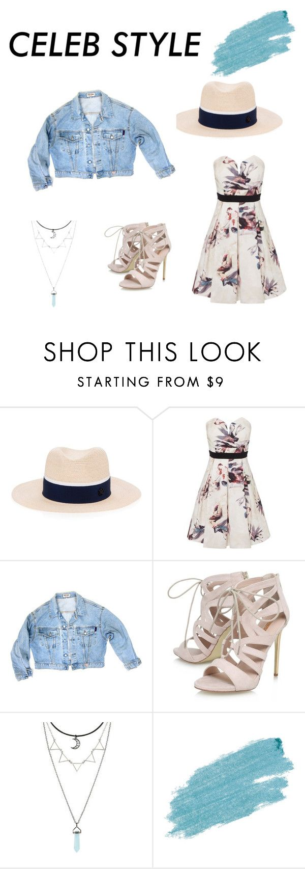 """""""Cleleb style"""" by lolsmilez ❤ liked on Polyvore featuring Maison Michel, Little Mistress, GUESS, Carvela, Jane Iredale, GetTheLook and hats"""