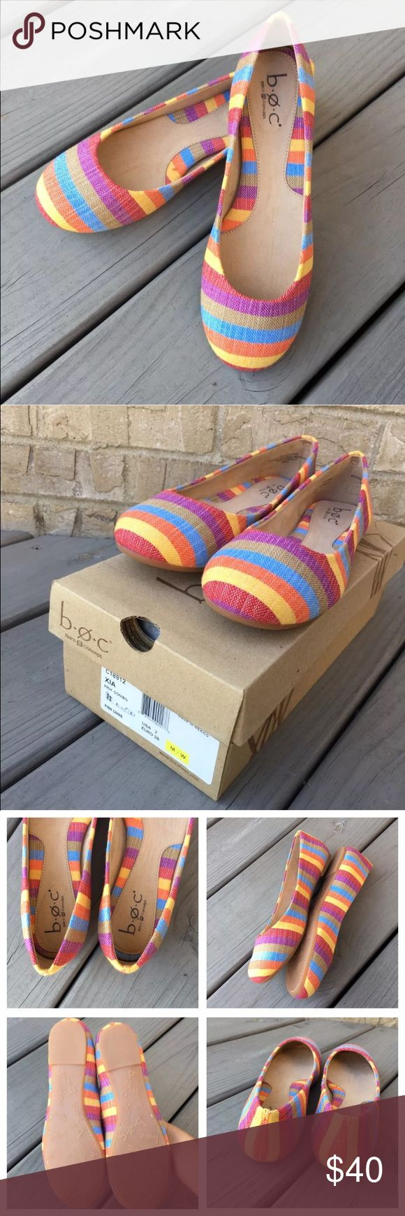 NWT b.o.c. Striped Flats XIA Size 7M These striped flats will match practically any summer outfit! Super cute and comfy! New with box BORN BOC XIA  Pink Combo Striped Flats  Womens Shoes Size 7 M / W b.o.c. Shoes Flats & Loafers