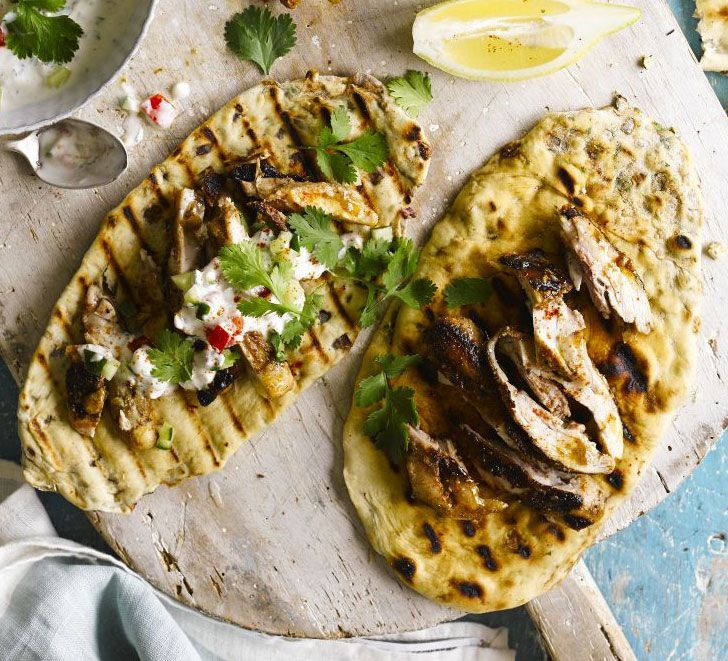 This basic naan dough is filled with ajwain seeds, onion and coriander and quickly cooked on a griddle pan or barbecue to add a smoky finish