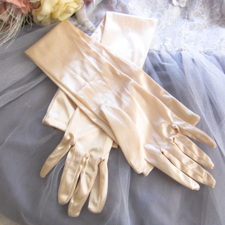 Vintage wedding gloves, Elbow length gloves, long wedding gloves, vintage bridle gloves, 1950s gloves, burlesque gloves, satin gloves by thevintagemagpie01 on Etsy