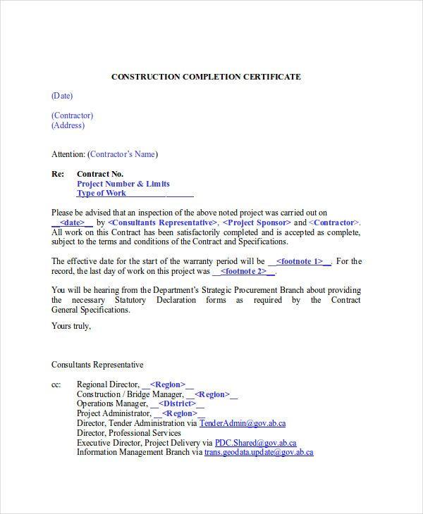 Image result for construction project completion letter sample