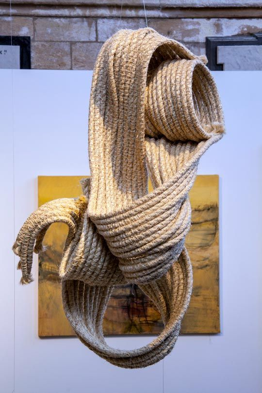 FABRICS / MATERIALS. This is a sculpture by Heather Pickwell. She specialises in crochet sculpting and uses rope, wax , cardboard and other found materials. She mainly produces large installation pieces and most commonly made of rope. Her work has a lot of meaning and detail behind it. What i like about her work is the large scale mixed with the simplicity of materials.