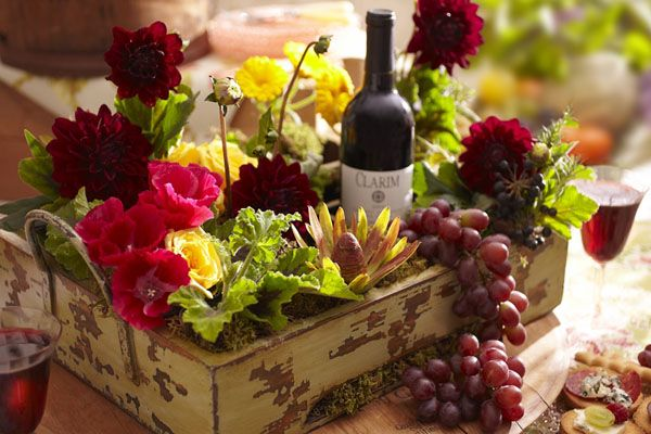 What a beautiful centerpiece or focal point for serving wine!