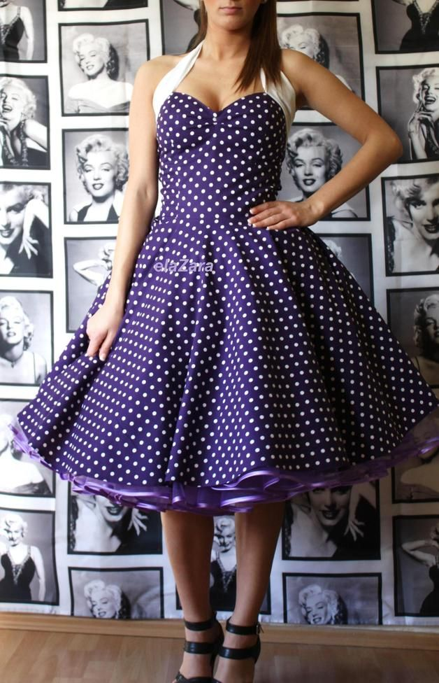 Petticoat dress in purple with white dots