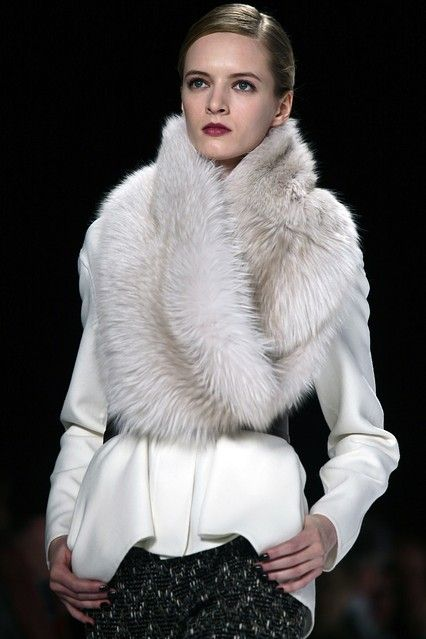 Looking at fall 2012 runway pics makes me so excited for fall fashion! Caroline Herrera fall 2012. ~ Gorgeous. Do it in fake fur.