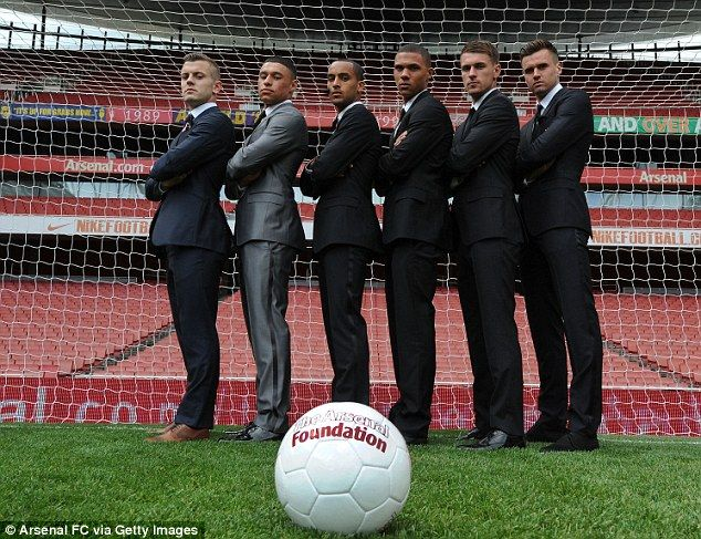 Star men: Jack Wilshere joins the five for the Arsenal Foundation Ball