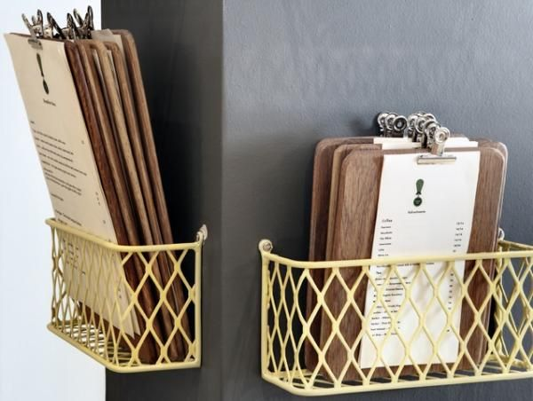 Clipboard menu storage!? Stylish, affordable, and easy storage -a soundproof and  flawless idea.