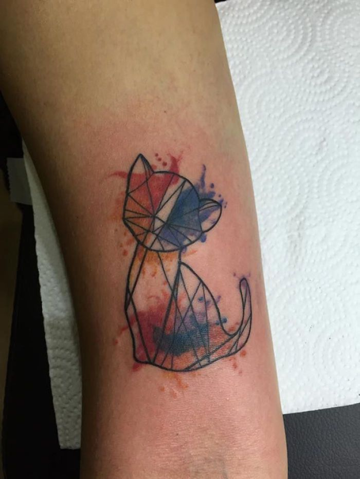 Best Best Geometric Tattoos Models Images On Pinterest Cats - Minimal geometric tattoos brought to life with bursts of colour