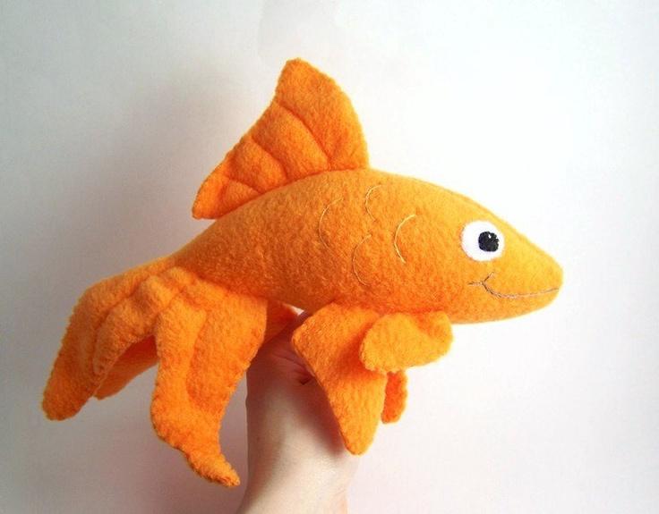 Handmade orange goldfish stuffed animal sassy fish for Fish stuffed animals