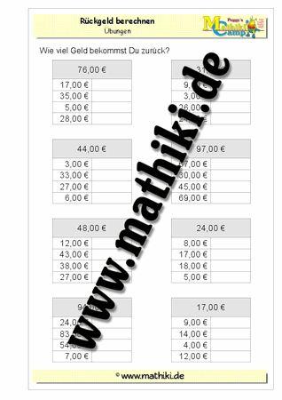 Rückgeld berechnen − ZE,00€ - ©2011-2016, www.mathiki.de - Ihre Matheseite im Internet #math #money #geld #euro #cent #arbeitsblatt #worksheet