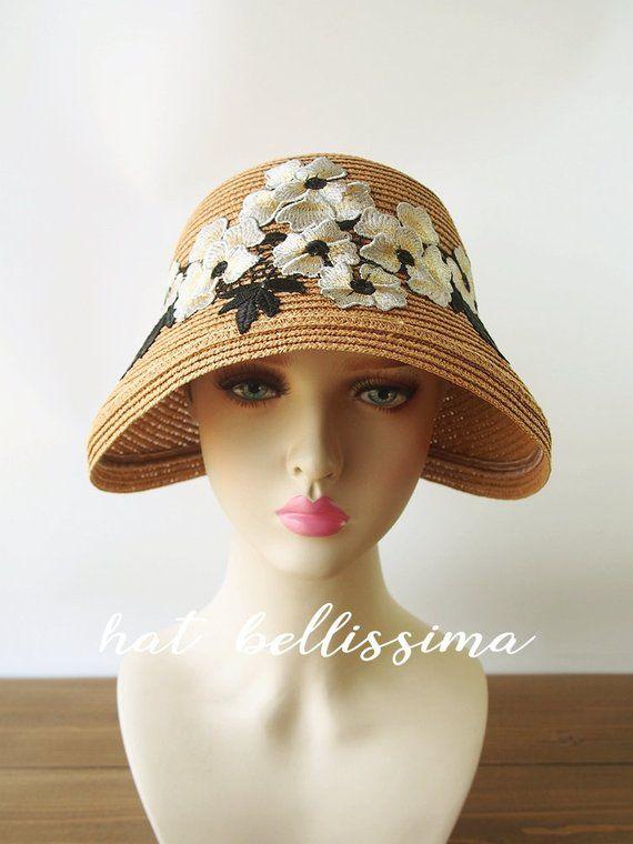 c02e2f100 1920's Vintage Style straw hat Summer hat hatbellissima millinery ...