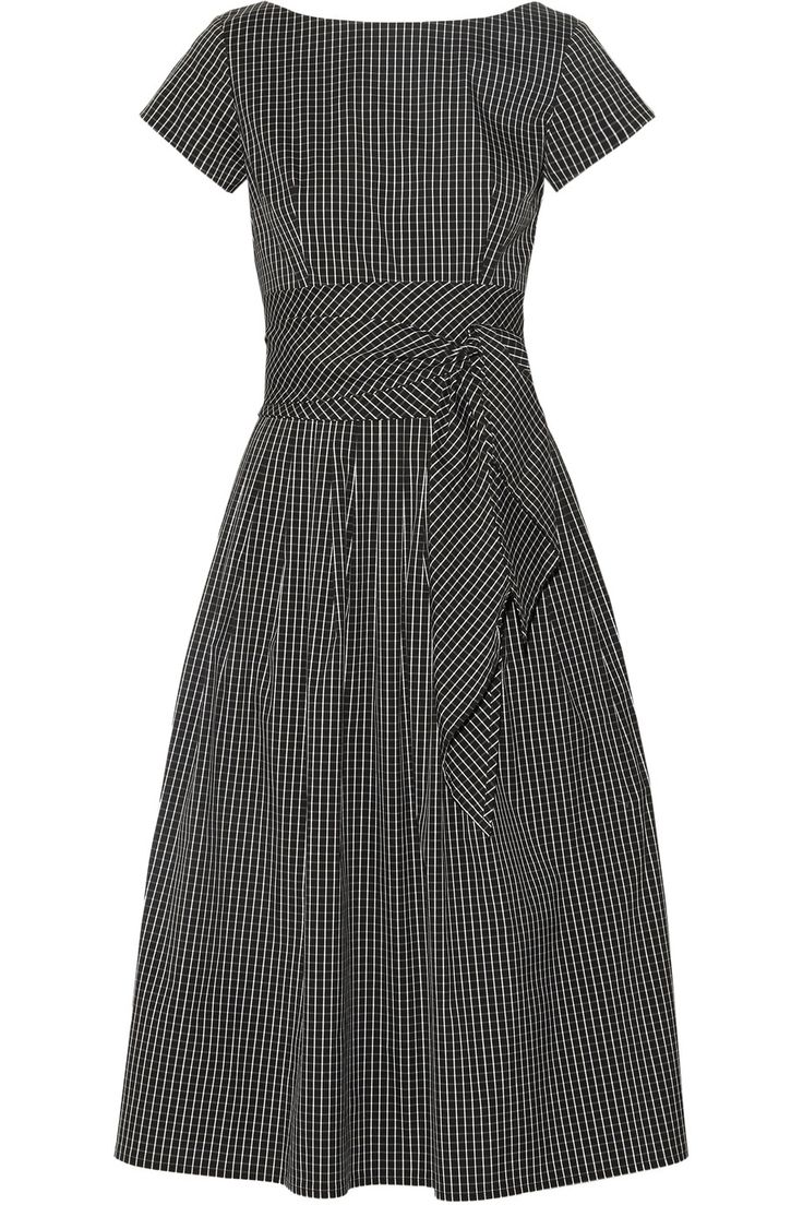 Michael Kors Collection   Checked cotton-blend poplin midi dress