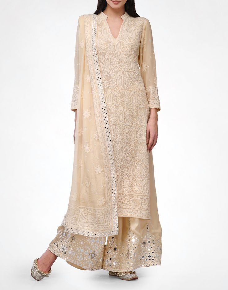 Pale Yellow Chikankari Set