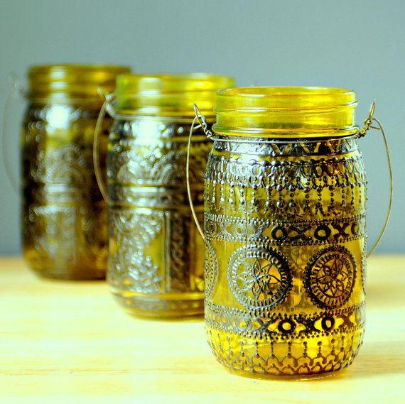 Ручная роспись Мейсон Jar фонарь, золотарник тонированные стекла с черными вставками
