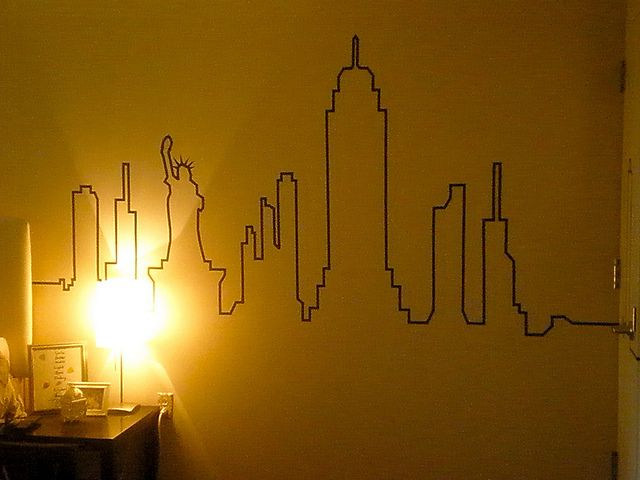 Skyline made with roll of black tape and level