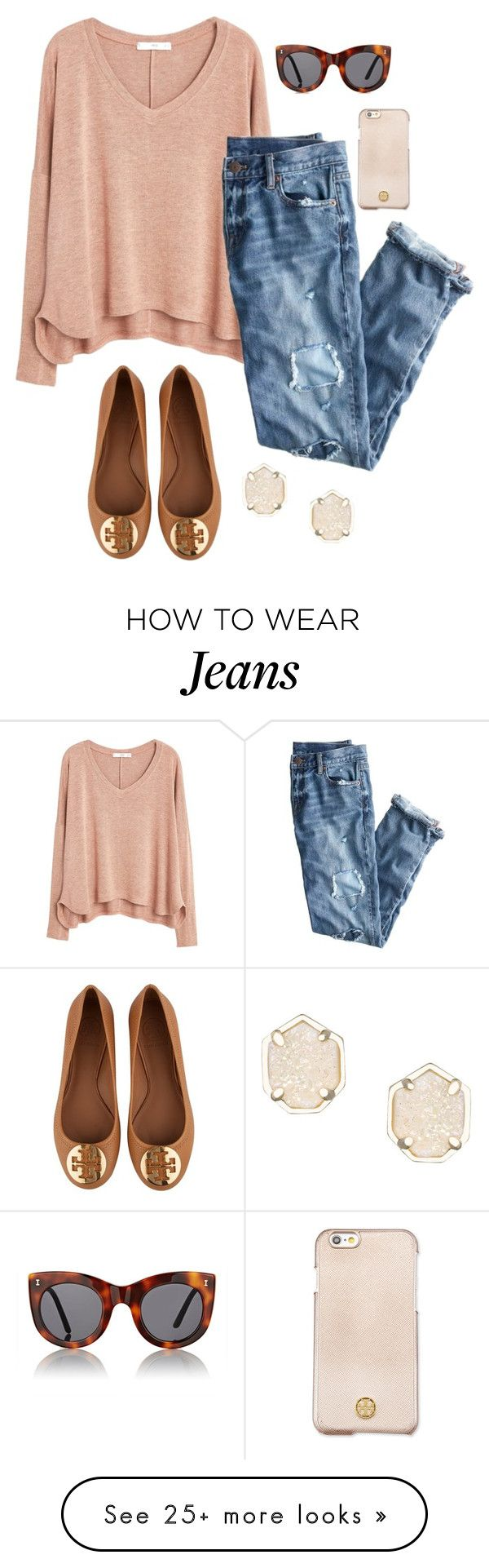 """Blush and boyfriend jeans"" by thepinkcatapillar on Polyvore featuring MANGO, J.Crew, Illesteva, Tory Burch and Kendra Scott"