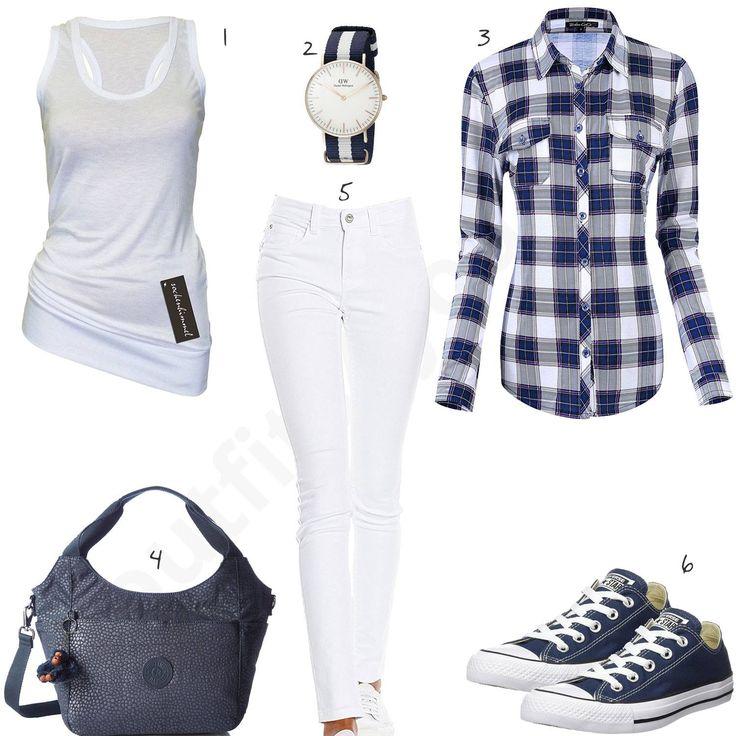 Blau-Weißes Outfit mit kariertem Hemd und DW Uhr (w0522