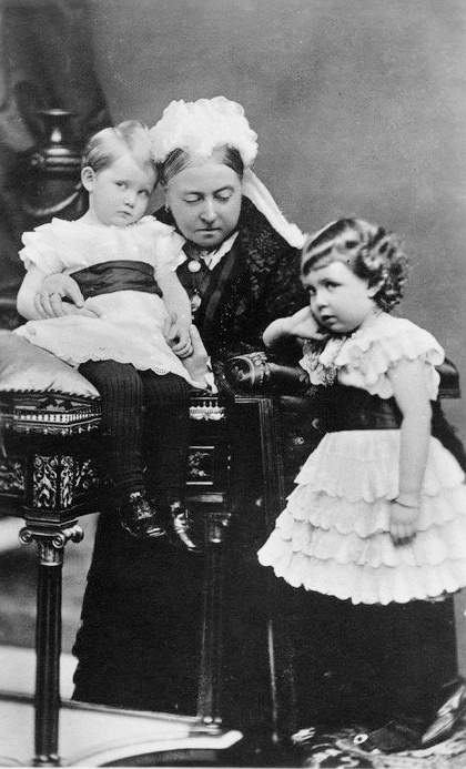 Queen Victoria with grandchildren Prince Arthur and Princess Margaret of Connaught, children of her son Prince Arthur