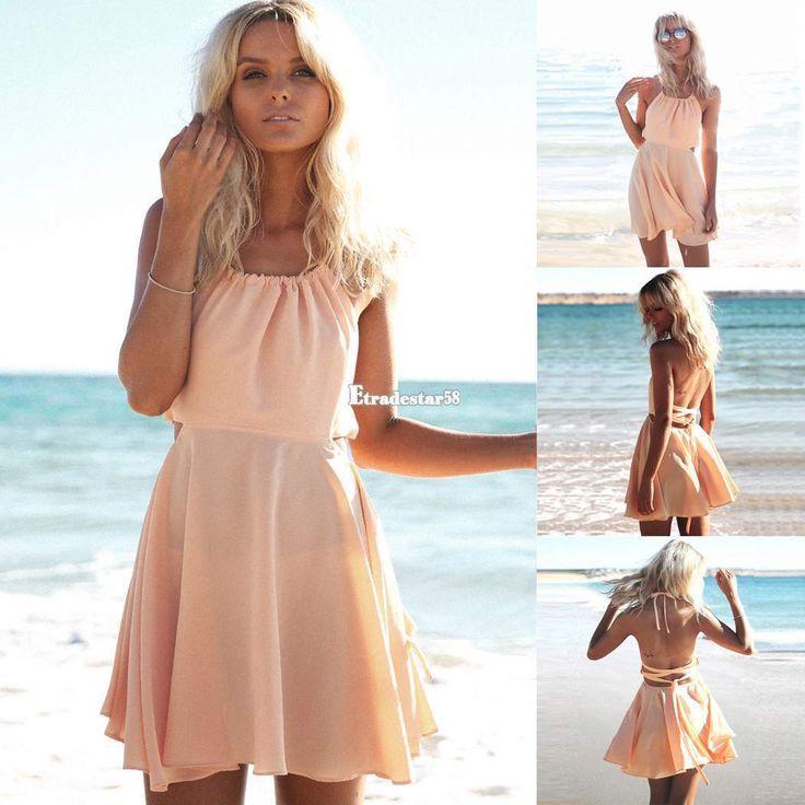 Damen Mini Ärmellos rückenfrei Chiffon Sommerkleid Partykleid Strand Kleider | eBay