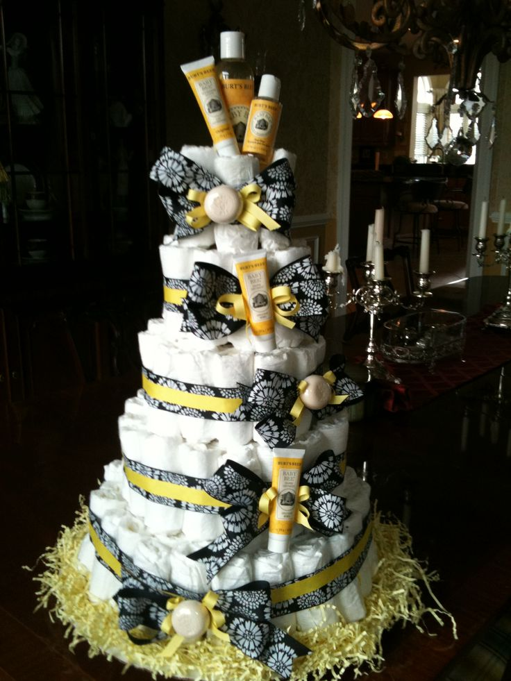 Burts Bees Diaper Cake For Bumble Bee Theme Baby Shower