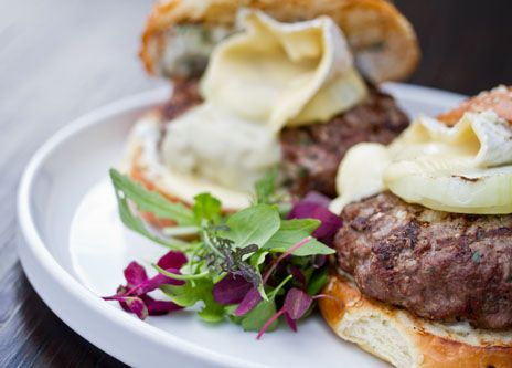 Ground kangaroo meat makes delicious burgers with melted camembert