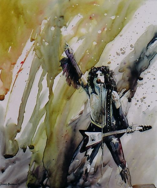 Original painting of Paul Stanley of Kiss, by artist Dennis Kalichuk.