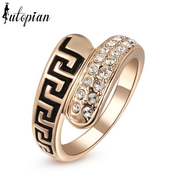Italina Rigant, 18K, розовая позолота, кольцо Aneis, геометрический стиль, сделано с австрийскими кристаллами Stellux, высокое качество #RG96490