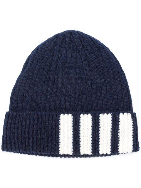THOM BROWNE THOM BROWNE 4-BAR STRIPE CASHMERE RIB HAT - BLUE.  thombrowne   beanie c8fc680d5b5d