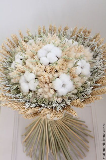 Bouquet with cotton and wheat.