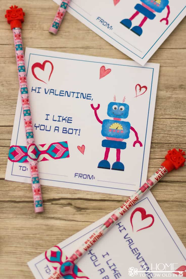 Robot Valentine Cards Free Printable Cards For Kids With Images