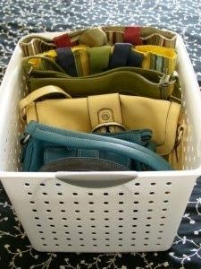 Vertical is Visible!  Organize purses using a dollar store basket | OrganizingMadeFun.com
