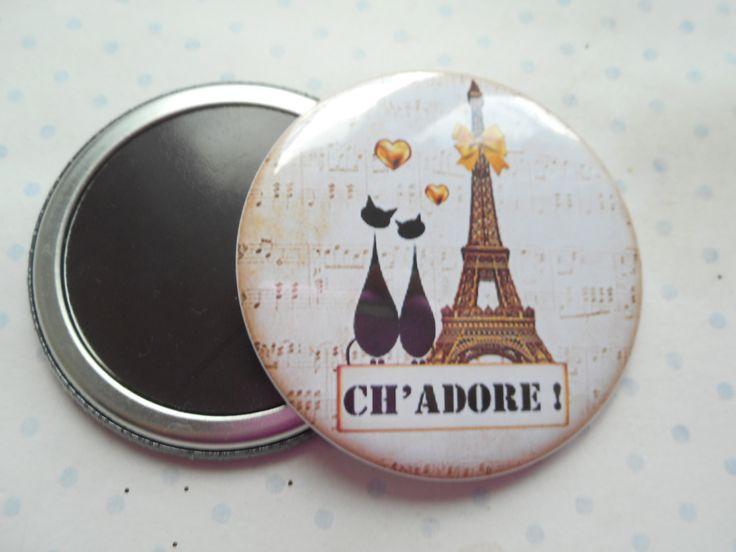 """Grand magnet 56 mm """"ch'adore paris or"""" noir, jaune, or, paillette,blanc, chat, tour eiffel : Accessoires de maison par miss-coopecoll"""