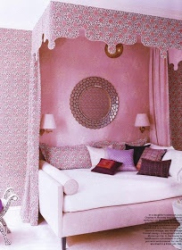 Make canopies for beds with soft purple scheme