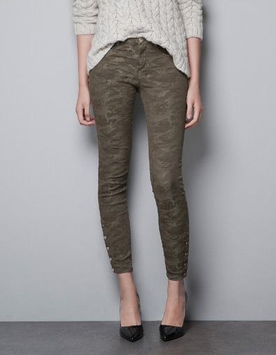 CAMOUFLAGE JACQUARD TROUSERS - Trousers - TRF - ZARA United States @Tasha Dunlop
