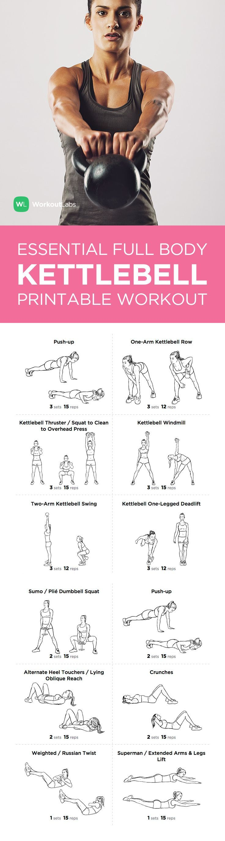 cool Essential Full Body Kettlebell Printable Workout for Men & Women