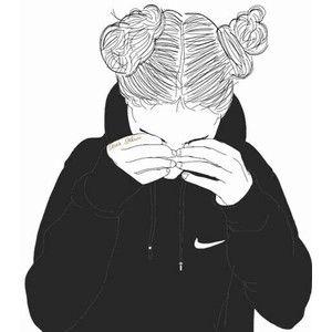 dessins de fille tumblr | black line drawings - Polyvore