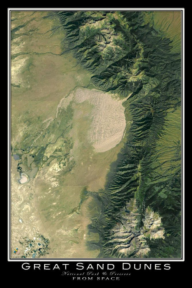 On a crisp and clear day in September of 2014, the US Geological Survey captured this scene depicting the Great Sand Dunes National Park. TerraPrints.com is America's largest producer of hand-picked,