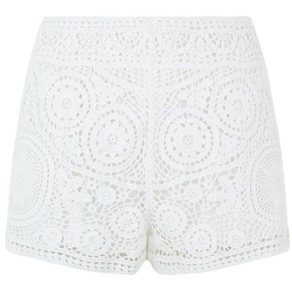 Chloé Crochet Shorts ($845) ❤ liked on Polyvore featuring shorts, short, white camisole, white shorts, summer shorts, crochet shorts and chloe shorts