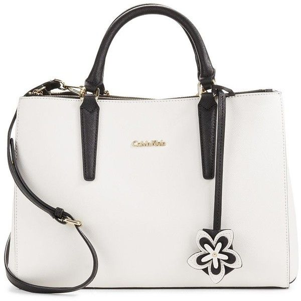 Calvin Klein Saffiano Leather Satchel found on Polyvore featuring bags, handbags, calvin klein, calvin klein bags, white satchel, satchel purse and satchel handbags
