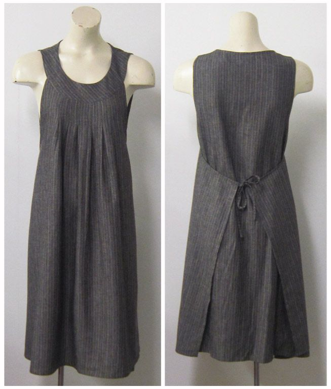 We have just finished our second run of Apron dresses. The striped linen cotton, shown above, a lightweight black linen, and a drapey black ...