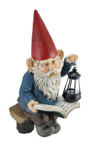 Reading Garden Gnome W/ Lantern Outdoor Statue - #gnome, #lantern, #statue, garden, Outdoor, reading
