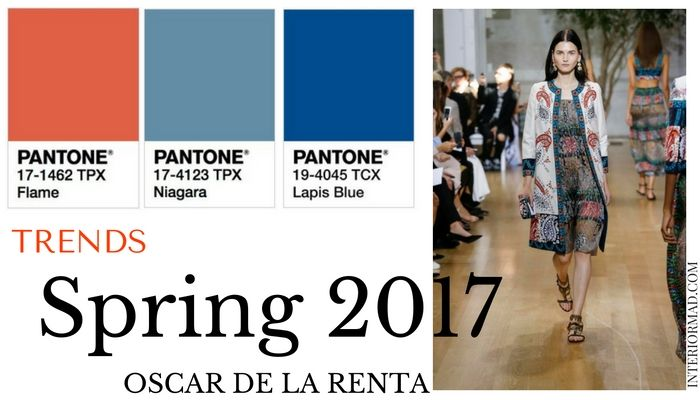 Pantone's 2017 trends and Oscar de la Renta's Ready-to-Wear Spring collection were my inspiration for a new posts in orange and blue.