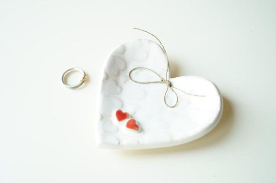 Ceramic Heart Wedding Ring Holder Wedding Ring Dish by HerMoments