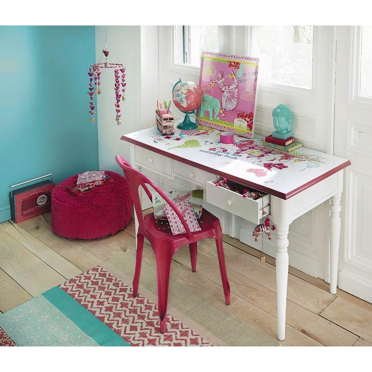 Escritorio de madera blanco an 130 cm pinkplanet planetas escritorio infantil y escritorios for Escritorio infantil