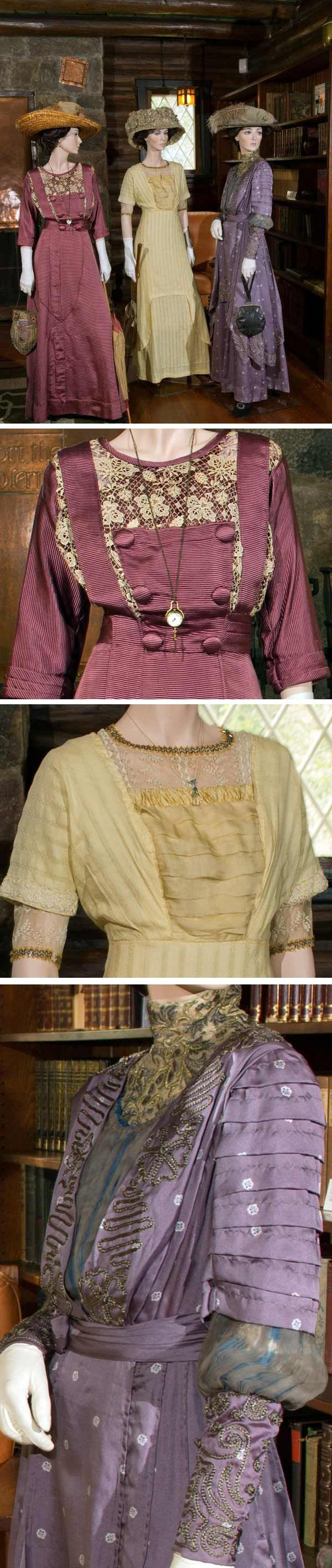 """From the Stickley Museum's fascinating blog, this scene is """"Visiting & Receiving."""" Left: plum ribbed silk faille with chemical lace detailing, ca. 1911. Center: pale yellow ribbed silk with china silk front, ca. 1911. Right: dark lilac printed silk decorated with chain stitch embroidery, ca. 1911. See http://www.stickleymuseum.org/blog/ for lots of other interesting info."""