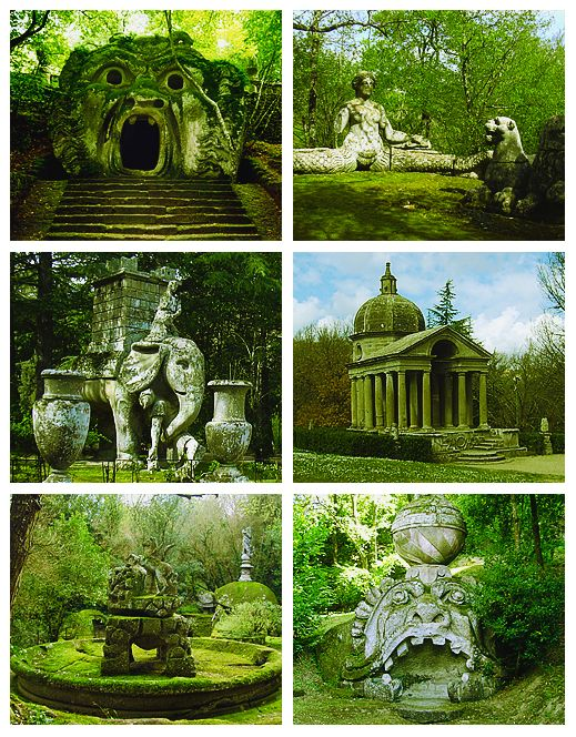 The Parco dei Mostri, also known as the Garden of Bomarzo or Sacro. Created during the 16th Century. Bosco, Italy.