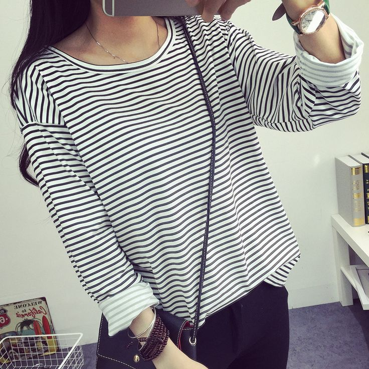 >> Click to Buy <<  new students all-match color T-shirt bottoming shirt loose long sleeved striped T-shirt female black and white stripes #Affiliate